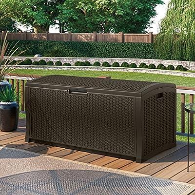 Suncast 52 in. 122-Gallon Resin Wicker Deck Box
