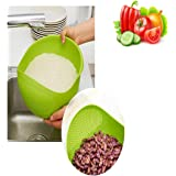 HUELE Rice Washer /Quinoa Strainer Eco-Friendly BPA-Free Container with Fine Mesh Colanders Sieve Bowl Kitchen Good for Cleaning Veggie, Fruit and Pasta Green