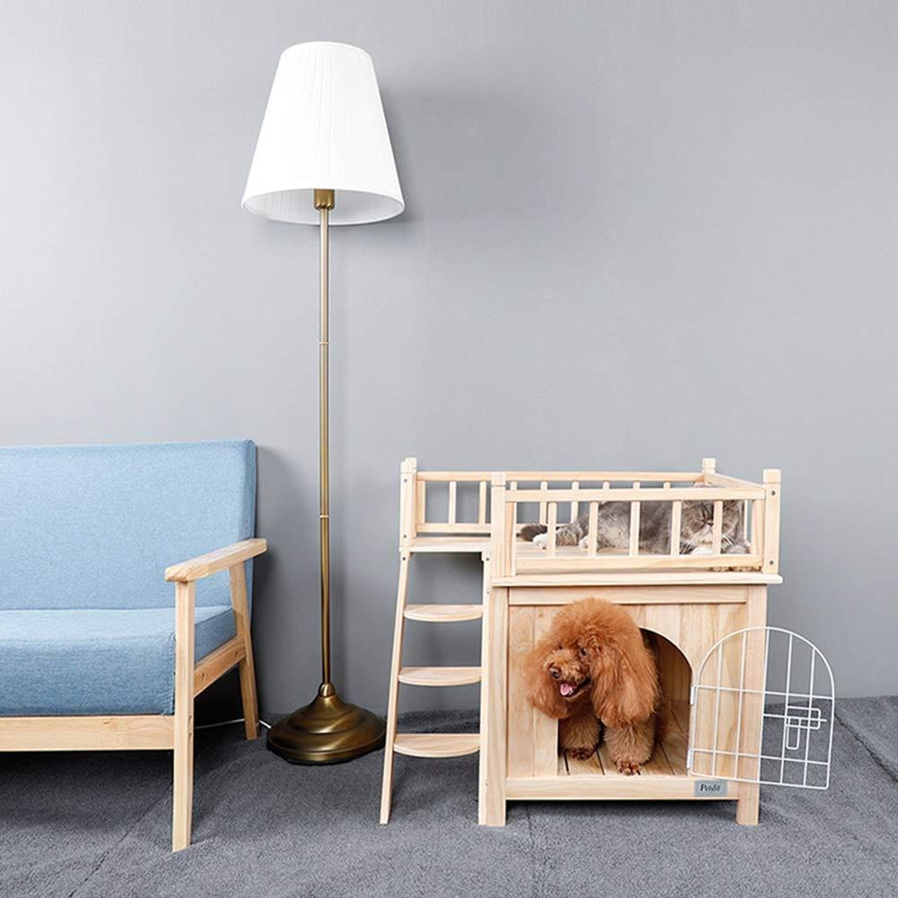 PLDDY Caseta para Mascotas con escaleras/Refugio para Perros de Madera/Habitación para Gatos/Uso en Exteriores en Interiores, Ideal para balcón, Patio, ...