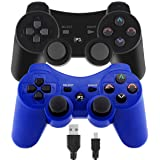 Molgegk 2Packs Wireless Bluetooth Controller Compatible for Playstation 3 PS3 Double Shock - Bundled with USB Charge Cord (Black and Blue)     (Color: Black and Blue)