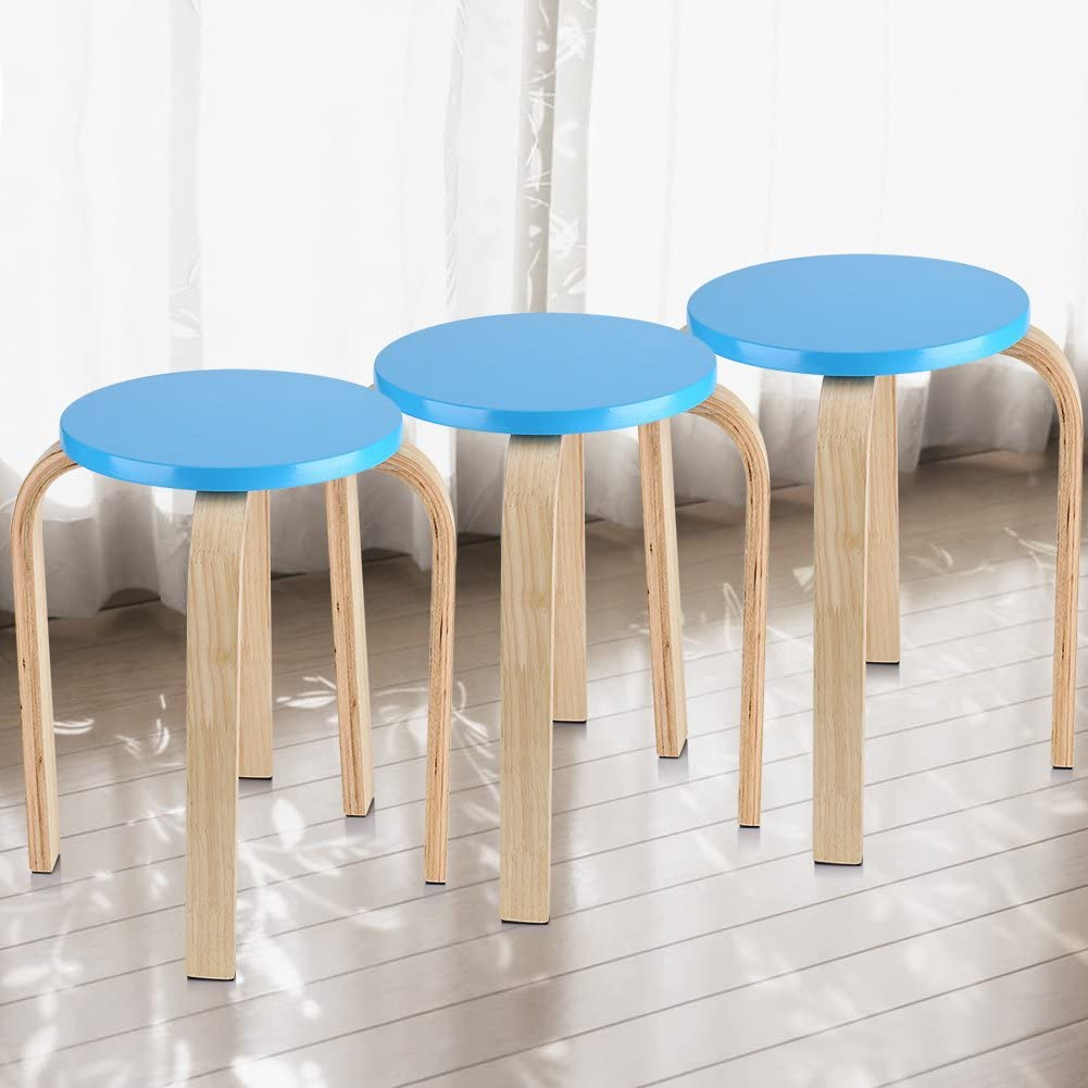Natural Bent Wood Stool Candy Color Chair Stacking Stool with 4 Legs and Anti-Slip Mat 15.75 x 17.9 inch White Wooden Round Stool
