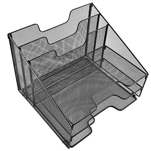 Desk Organizer File Folder Holder All-in-One With Non-Slip Rubber Feet by Desk Wiz   Black Metal Mesh Office Desktop Supplies Accessories Organizer   Includes 3 Sticky Note Pads and 3 File Folders by Desk Wiz (Image #6)'