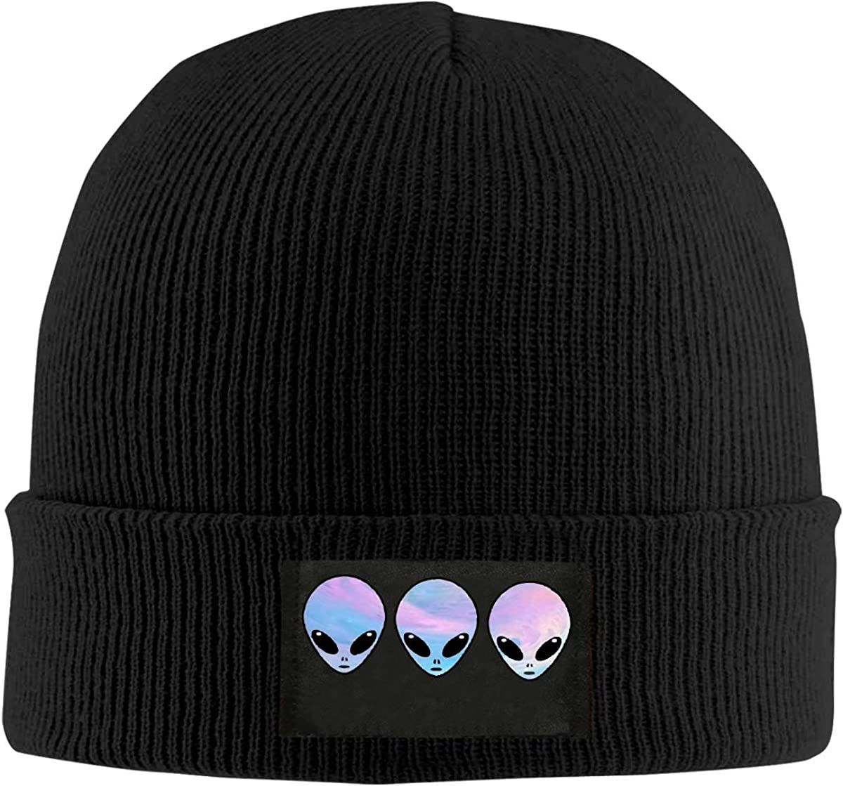 Psychedelic Three Holo Aliens Women and Men Knitted Hat Soft Fleece Beanie Hat
