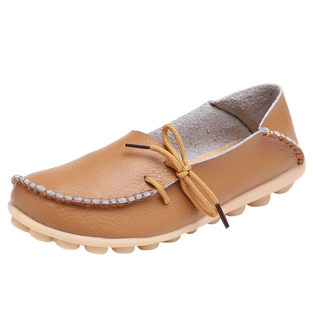 Yuncai Moda Moda Moda Classico Donna Scarpe Piselli Casuale Traspirante Scarpe da Barca Piana Marrone Chiaro caff27