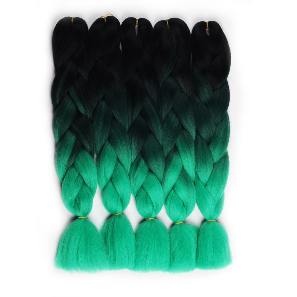 Hair Way 24 5pcs/Pack Afro Synthetic Jumbo Braids Ombre Kanekalon Fiber Hair Extension for Braiding Hairstyles (Black/Silver Grey) new step