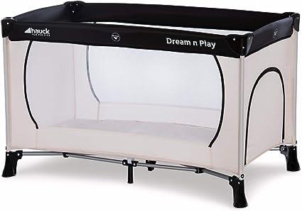 Hauck / Dream N Play Plus / Lit Parapluie 3 Pièces / 120 x 60 cm / Naissance à 15 kg / avec Matelas, Ouverture Latérale, Sac de Transport / Pliable / Transportable / Inversable / Beige Grey (Beige Gris)