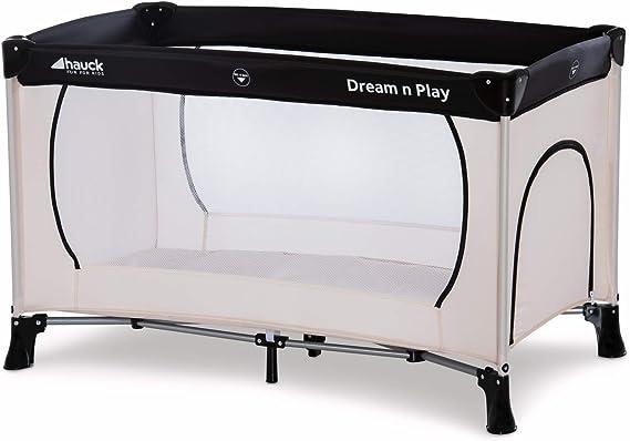 Hauck Dreamn Play Plus - Cuna de viaje 3 piezas, 120 x 60 cm, de 0 meses hasta 15 kg, con bolsa de transporte, apertura lateral, plegable, ligera y estable - beige: Amazon.es: Bebé