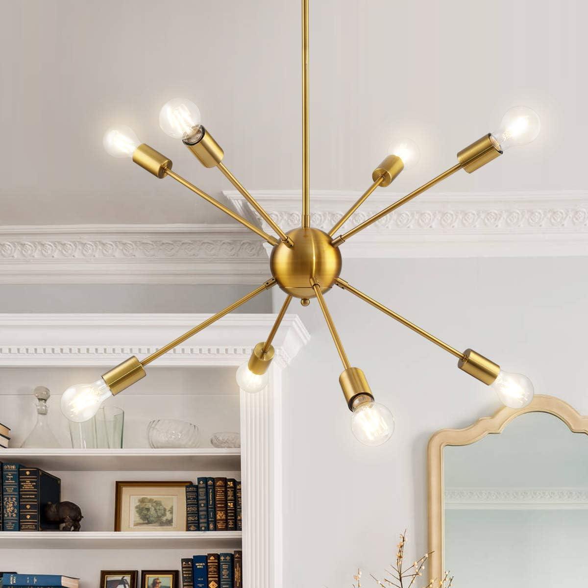 Modern Sputnik Chandelier 8 Lights Mid Century Vintage Ceiling Pendant Light Fixture for Kitchen Island Bar Living Room, Brushed Brass