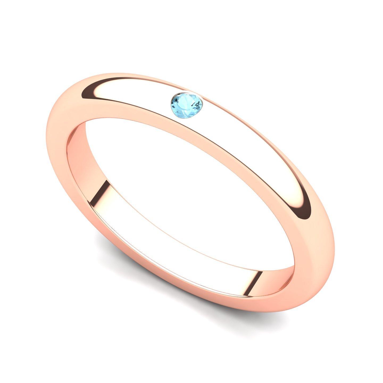 14k Rose Gold Bezel set Aquamarine Band Ring, 8