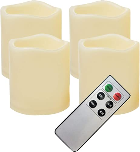 4 PCS Waterproof Outdoor Battery Operated Flameless LED Pillar Candles with Remote Flickering Plastic Electric Decorative Light for Lantern Party Wedding Decoration Garden Patio Home Decor 3×3 Inches