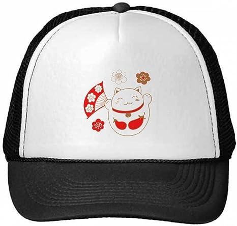 DIYthinker Gorra de béisbol del Ventilador Flor Suerte Gato de la Fortuna Berenjena Japón Cultura Gorros de Nylon Gorro Casquillo Ajustable: Amazon.es: Deportes y aire libre