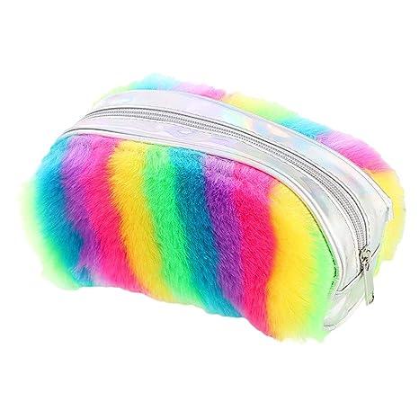 Monedero Kawaii para niñas, Lindo Bolso de Plumas de Felpa, Felpa para papelería, Pinceles de Maquillaje Coloridos