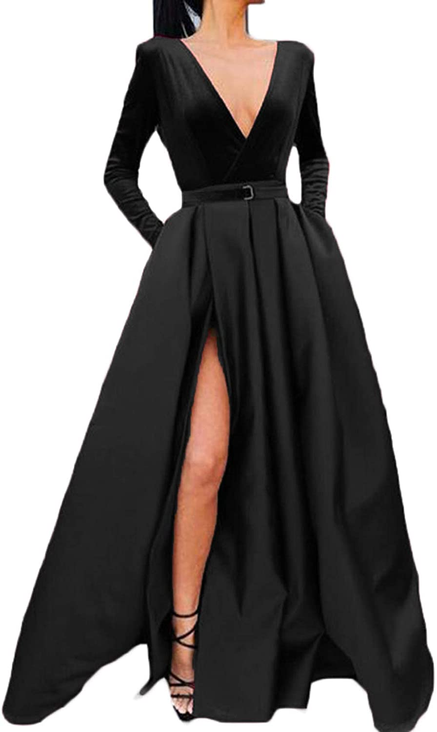 Black Ri Yun Women's Sexy Deep VNeck Prom Dresses Long Sleeve 2019 High Slit Formal Evening Ball Gowns with Pockets