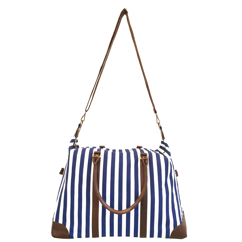 Limited Time Sale - Women's Blue Striped Weekender Bag, Travel Tote, Duffle Bag, Overnight Bag - MSRP $89