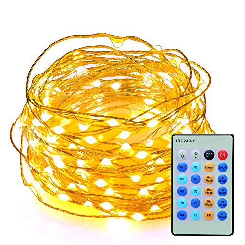 AcTopp Dimmable 150 Bulbs String Lights USB 5V 49ft Waterproof Remote Control Copper Wire String Lights for Valentine's Day Party Indoor, Outdoor Decorations - CE,ROHS Approved (Warm (Fireflies Metal Cover)