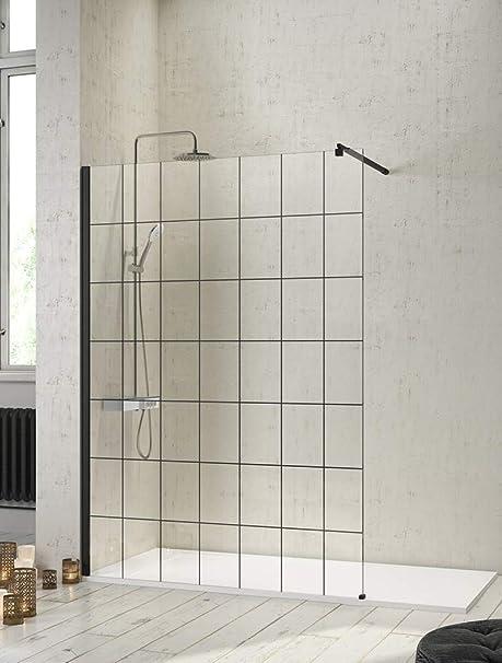 Mampara de Ducha Frontal de 1 cristal fijo - Cristal de Seguridad de 8 mm - Modelo Fresh Black (100 cm): Amazon.es: Bricolaje y herramientas