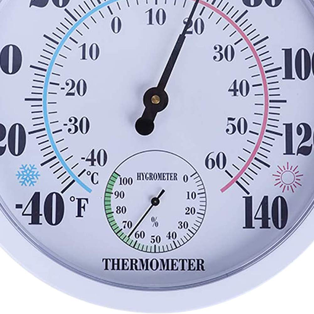 Garden Wall Thermometer for Patio White Indoor Outdoor Weather ...