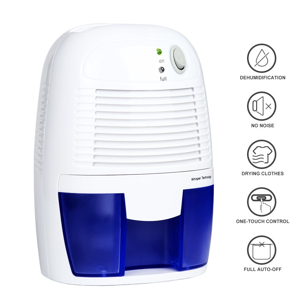 Dehumidifier, Aidodo Electrical Air Dryer Powerful Mini Portable Dehumidifiers with 250 ml / day dehumidification 0.5L Water Tank Dehumidifier for Basement Bedroom Home Office Bathroom Closet Kitchen
