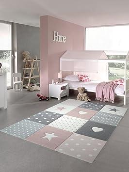Tapis d\'enfant Tapis de jeu Chambre d\'enfant Tapis de bébé Coeur d\'étoile  en rose blanc gris Größe 80x150 cm