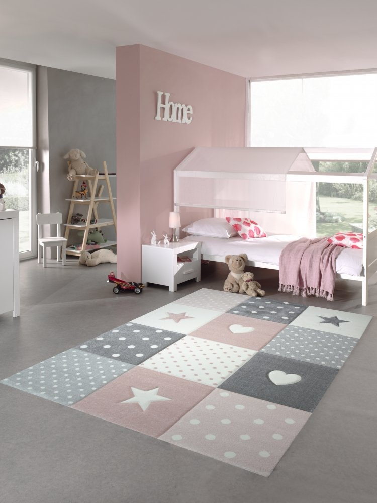 Children rug play carpet baby rug girl with heart star pink cream gray size 120 cm Rund Carpetia