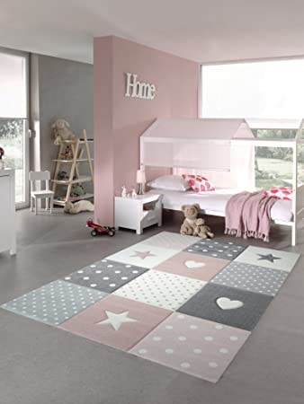 Kinderzimmer sterne grau  Kinderteppich Spielteppich Teppich Kinderzimmer Babyteppich mit Herz ...