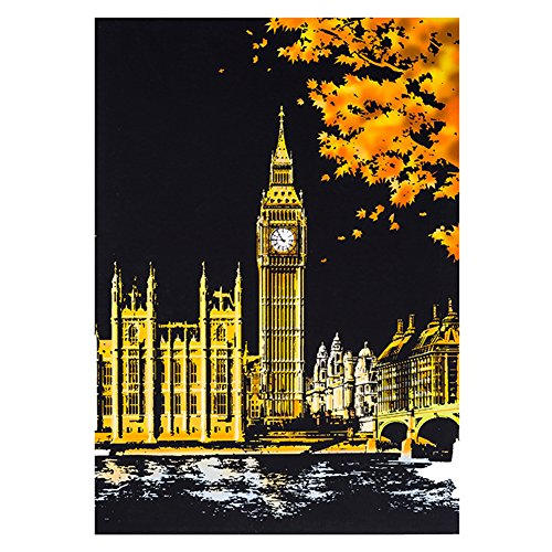 ETbotu Creative DIY Scratch Bright City Night View Scraping Painting World Sightseeing Pictures as Gifts Big Ben in -