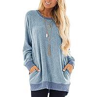 yokamira Womens Casual Color Block Long Sleeve Round Neck Pocket T Shirts Blouses Sweatshirts Tops