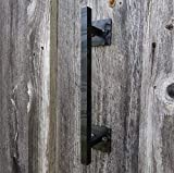 Hearth Creek 12'' Rustic Hammered Black Barn Door Handle Pull for DIY Sliding Barn Door Hardware