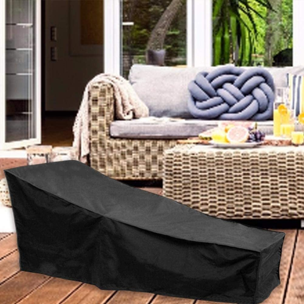 etateta Waterproof Patio Chaise Lounge Cover Durable Outdoor Lounge Chair Cover,Black,Gray Convenient