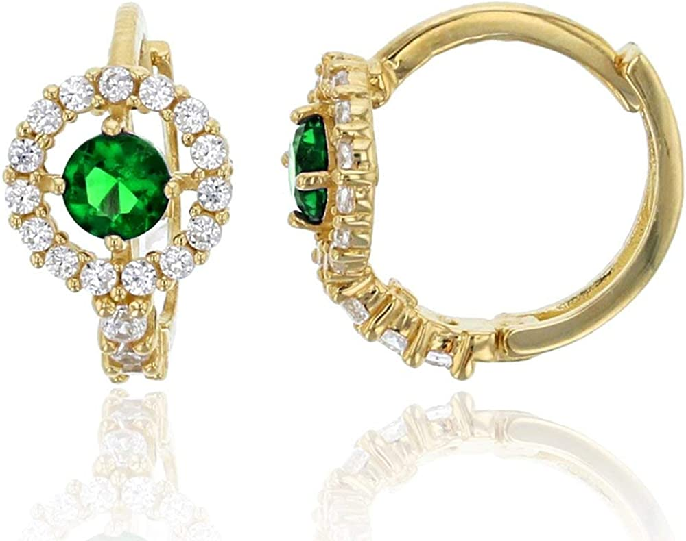 14K Yellow Solid Gold Micropave 6.5mm Round Halo AAA Cubic Zirconia Huggie Earrings | 5 Colors: Emerald, Pink, Red, Sapphire and Yellow | 6.5x10mm | Solid Gold Huggie Earrings for Women and Girls