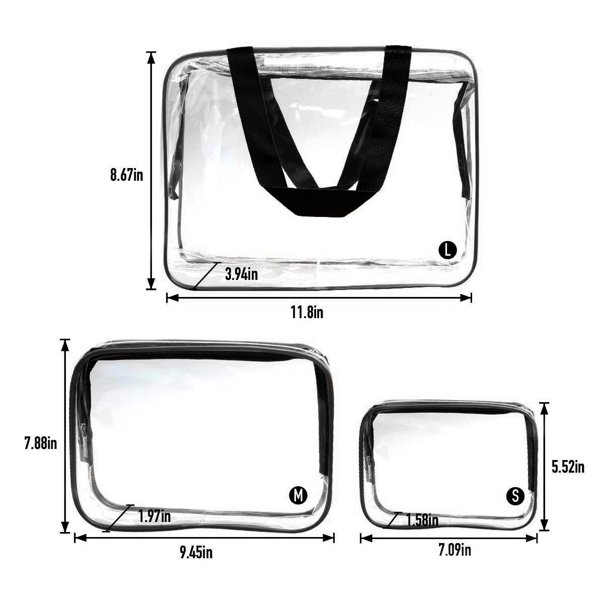 ESHOW 3 Set Clear Packing Cubes, PVC Waterproof Multi-function Hand Pouch Tote Bag Makeup Bag with Zipper and Travel to Buggy Bag for Toiletries Cosmetic and Bathroom Accessories (black) by WIFUME (Image #2)