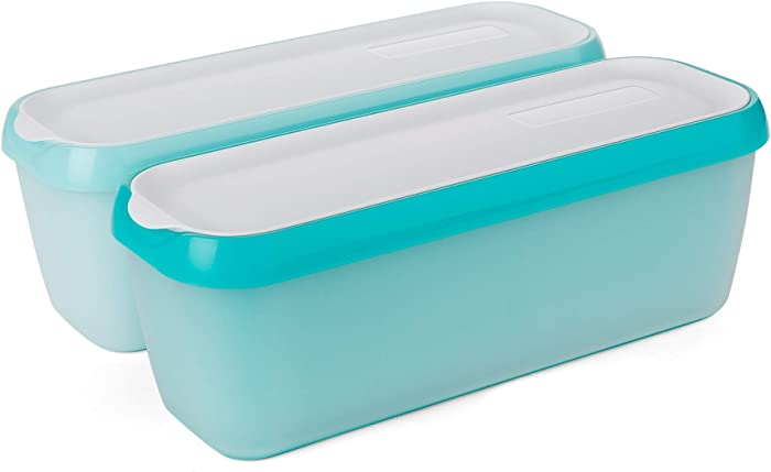 SveBake Ice Cream Storage Containers with Lids 2 Pack -1.5 Quarts Homemade Ice Cream Tubs, Freezer Containers, Turquoise & Green
