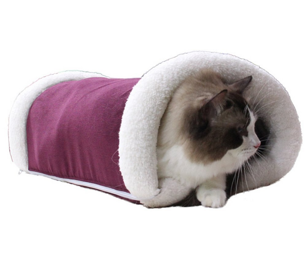 NACOCO 2 in 1 CAT Tube Cat Tunnel Cat Mat and Bed Dog Mat Pet Bed Cat Toy Red