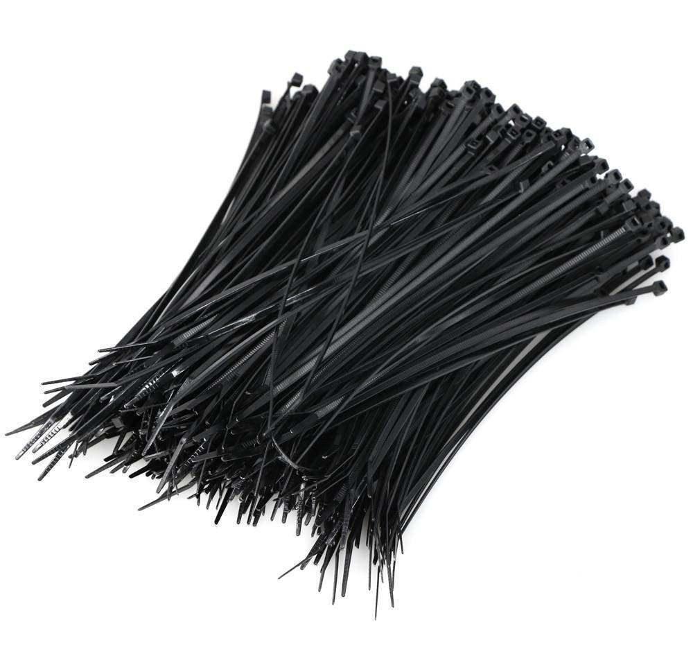 1000PCS Pack 8' inch Black Network Cable Cord Wire Tie Strap 50 Lbs Zip Nylon US onestops8