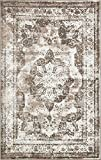 Traditional Persian Vintage Design Rug Light Brown Rug 4′ 11 x 8′ FT (244cm x 152cm) Sofia Area Rug Inspired Overdyed Distressed Fancy For Sale