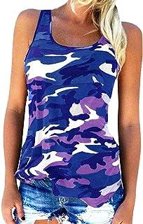 Vests Home Camiseta de Camuflaje para Mujer sin Mangas Slim Basic Summer Tops Cami Tanks (Color : Pink, Size : Small)