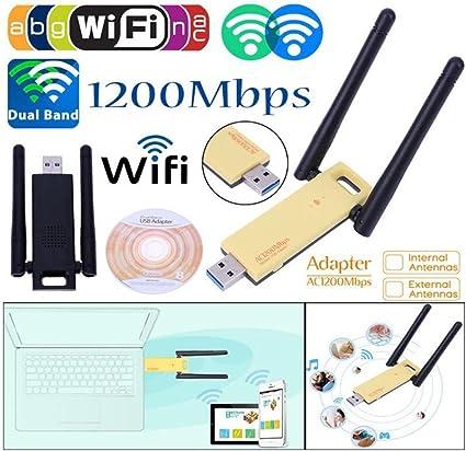 WiFi Adaptateur 1200Mbps,KuWFi Adaptateur Sans Fil WiFi Sans Fil Dual Band 5Ghz 2.4Ghz Mini Carte R/éseau USB WiFi 802.11ac RTL8812AU Chipset Antenne Dongle