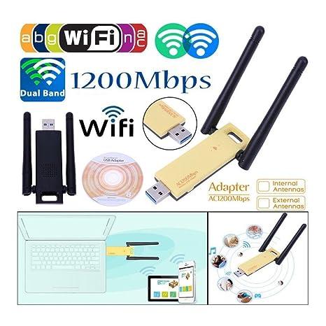 KuWFi 1200Mbps Dual Banda Inalámbrica USB WiFi Adaptador ...