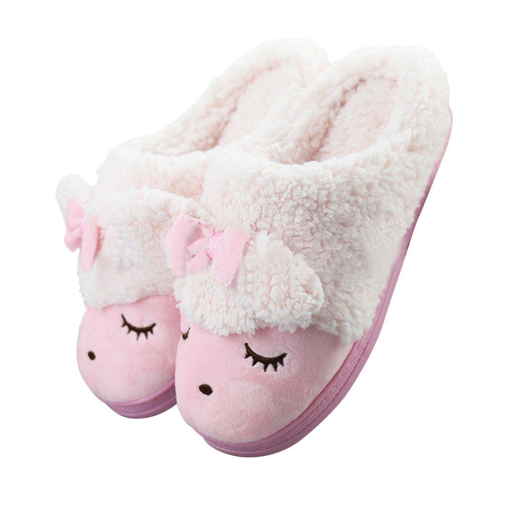 Women's Sheep Warm Plush Soft Sole Indoor Slipper Pink 7-8 B(M) US