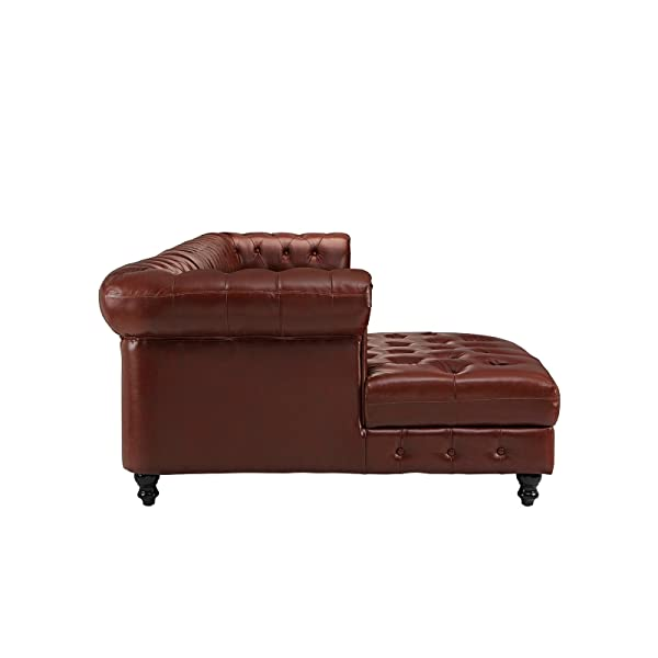 Divano Roma Furniture Classic Real Tufted Leather Match Chesterfield L Shape Sectional Sofa with Chaise (Light Brown)