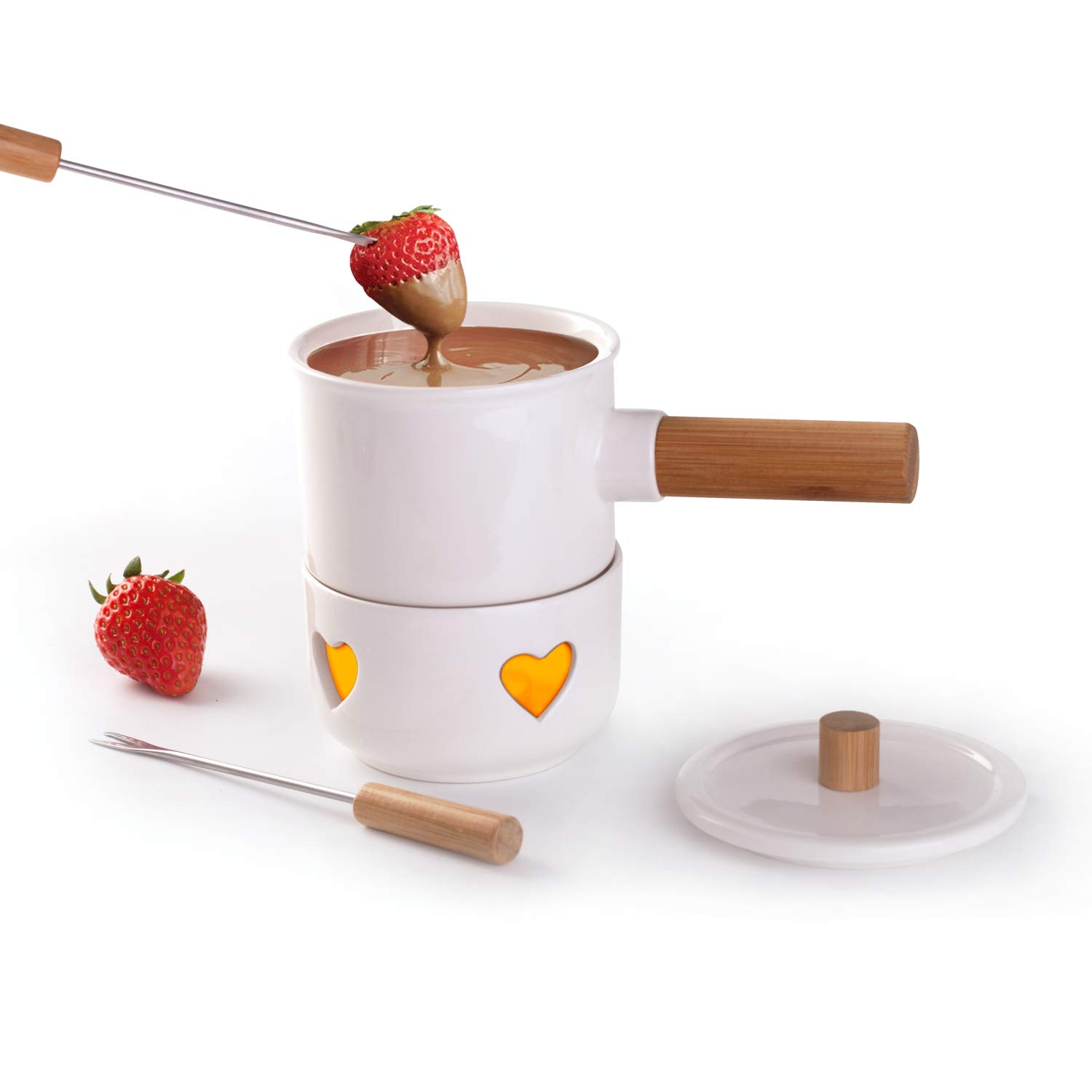Sunbright Tapas Fondue Set with Bamboo Handle & 2 Forks,Melting Pot for Cheese,Chocolate, Heated by Tea Light,White, New Bone China Sunbright Decor