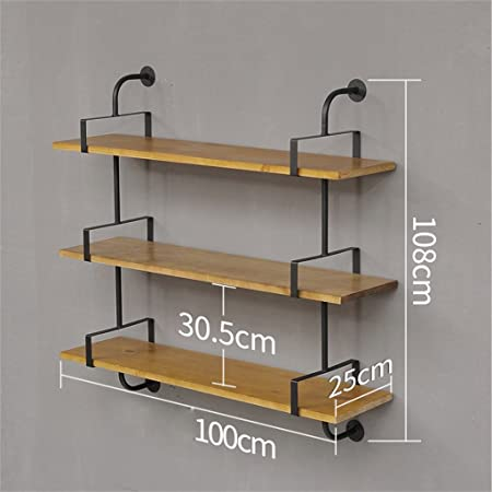 Mdblyj Vintage Wrought Iron Solid Wood Wall Shelf Shelf Single Wall