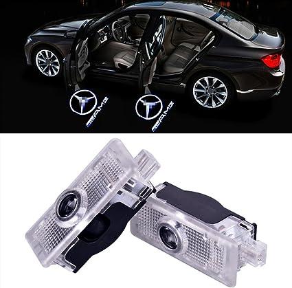 Xystar 2 Stück Autotür Logo Einstiegsbeleuchtung Projektion Licht Türbeleuchtung Projektor Welcome Licht Für Benz Cla Amg Auto
