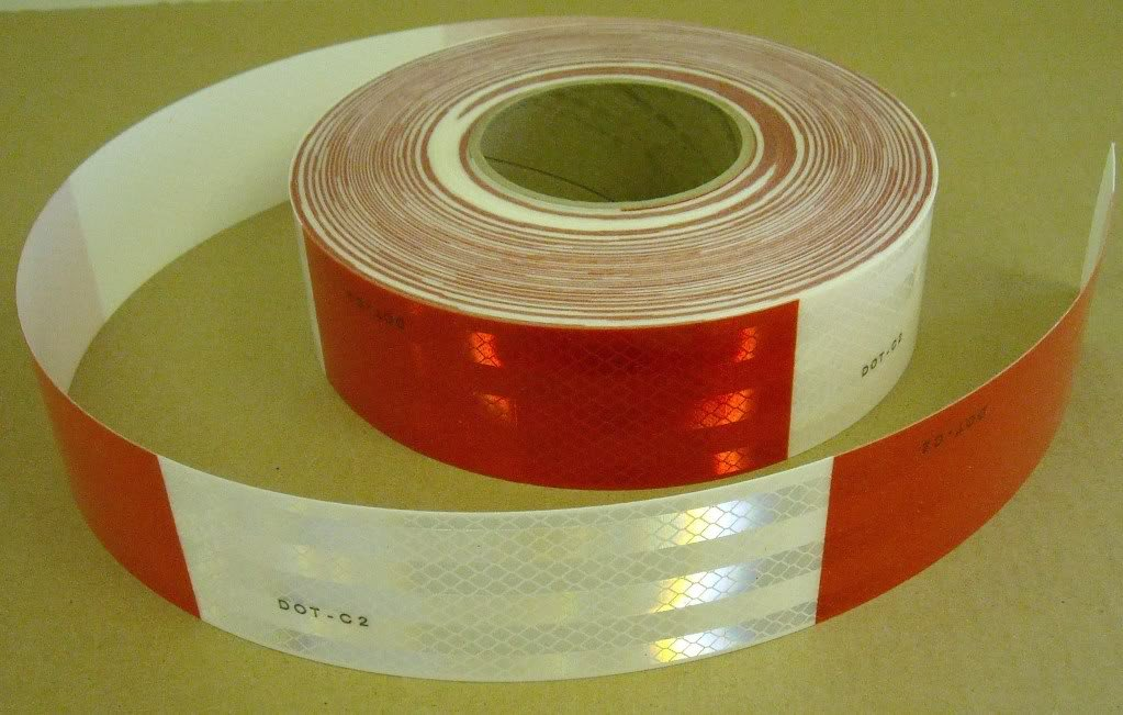 """Safe Way Traction 2'' x 150' Roll 3M 983 Series Diamond Grade Conspicuity Trailer DOT-C2 Reflective Safety Tape Red & White 6""""/ 6"""" Pattern"""