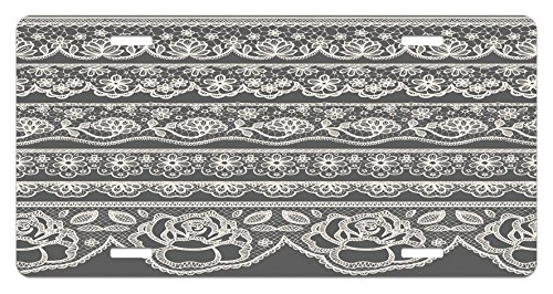 (Grey License Plate by Lunarable, Eastern Lace Artsy Pattern with Rose Floret Embellish Nostalgic Bridal Feminine Retro Art, High Gloss Aluminum Novelty Plate, 5.88 L X 11.88 W Inches, Grey)