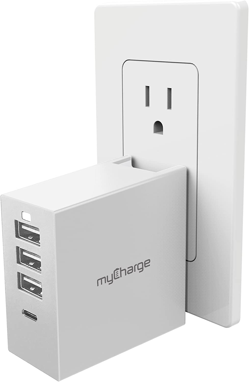 myCharge USB C Charger 30W Wall Adapter 4 Port Power Base 4.0A Output Type C Fast Charging QC3.0, Foldable Wall Plug Travel Phone Charger Cube for Apple iPhone, iPad, iPod, Android for Samsung Galaxy