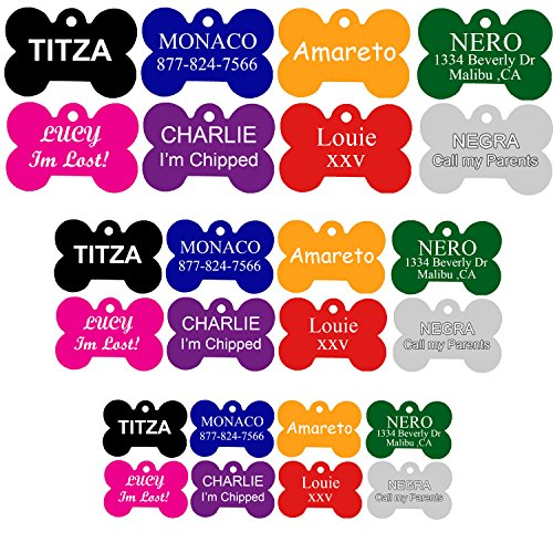 Id Tag Large Bone (CNATTAGS Aluminum Bone Personalized Dog Tag, Extra Large, Black)