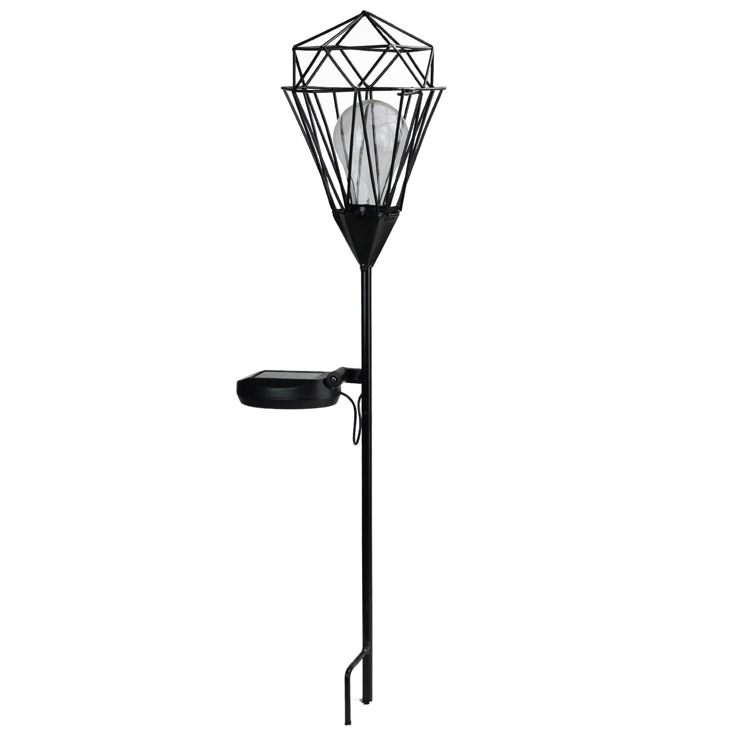 Northlight Solar Powered LED Outdoor Patio Metal Lantern with Garden Stake, 25.5'', Black