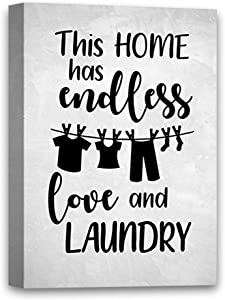 """Funny Ugly Christmas Sweater This Home Has Endless Love and Laundry Canvas Laundry Room Wall Decor Laundry Room Decorations for Wall 19"""" x 28"""""""