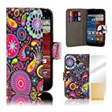 32nd® Design book wallet PU leather case cover for Motorola Moto X Play (2015 edition) + screen protector and cleaning cloth - Jellyfish